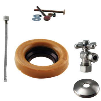 Westbrass D1612TBX Toilet Kit with 1/4-Turn nom comp Stop and Wax Ring - Cross Handle