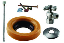 Load image into Gallery viewer, Westbrass D1613TBX Toilet Kit with 1/4-Turn 1/2 in IPS Stop and Wax Ring - Cross Handle