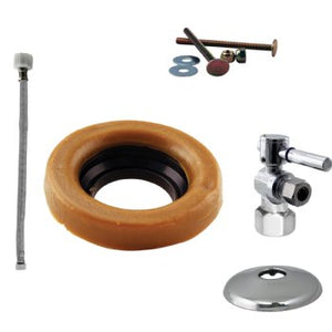 Westbrass D1613TBX Toilet Kit with 1/4-Turn 1/2 in IPS Stop and Wax Ring - Cross Handle