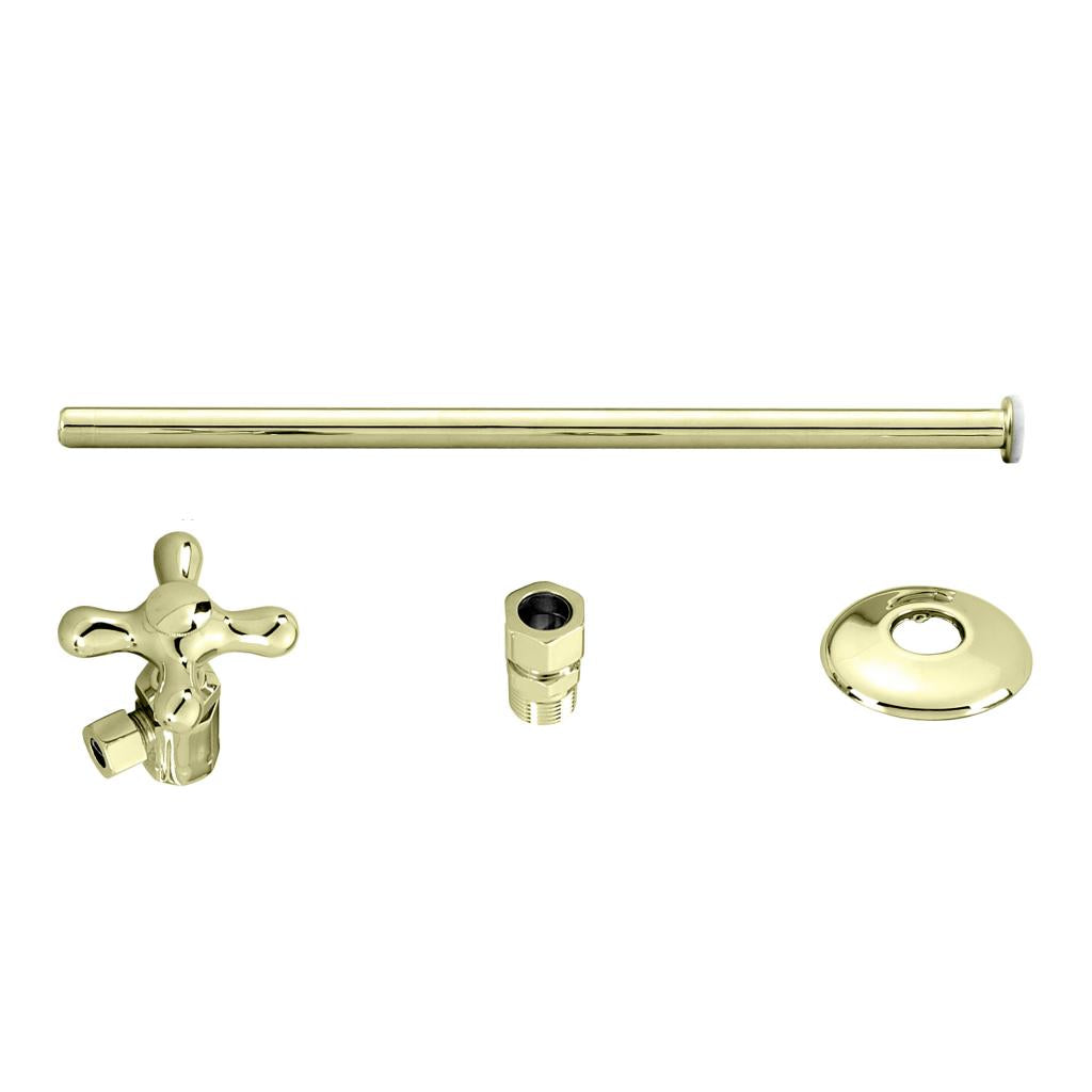 Westbrass D1812T Toilet Kit with Stop and Flat Head Riser - Cross Handle