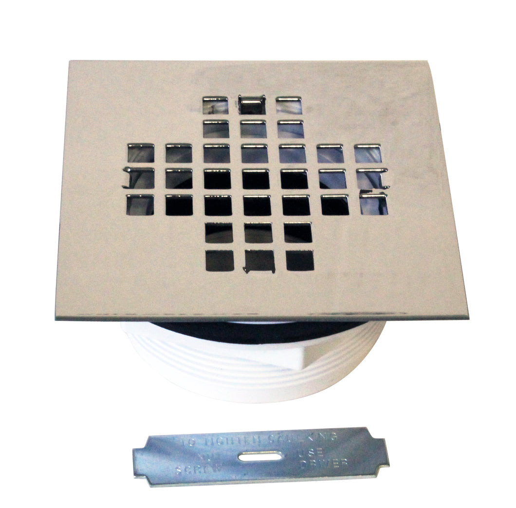 Westbrass D206PS 2 in. Sch 40 PVC Shower Drains with 4-1/4 in. Square Cover