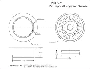 Westbrass D2089SEV InSinkErator Style Disposal Flange and Strainer