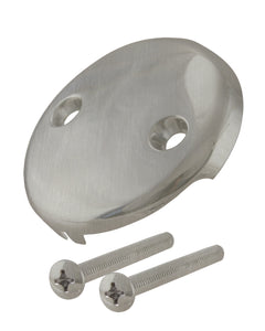 Westbrass D329 3-1/8 in. Two-Hole Overflow Face Plate and Screws