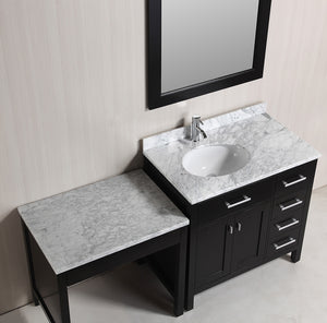 "Design Element DEC076D_MUT London 36"" Single Sink Vanity Set in Espresso with One Make-up table in Espresso"