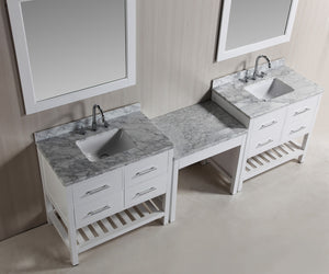 "Design Element DEC077A-WX2_MUT-W Two London 36"" Single Sink Vanity Set in White with One Make-up table in White"