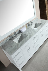 "Design Element DEC088-W London 78"" Double Sink Vanity Set in White"