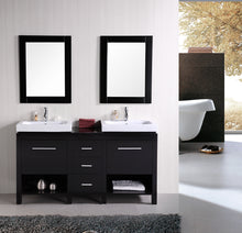 "Load image into Gallery viewer, Design Element DEC091B New York 60"" Double Sink Vanity Set in Espresso"