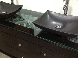 "Design Element DEC105-72 Oasis 72"" Double Sink Vanity Set with Decorative Drawer in Espresso"