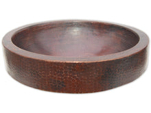 Load image into Gallery viewer, Eden Bath EB_C009AD Semi Recessed Copper Vessel Sink With Apron, Antique Dark