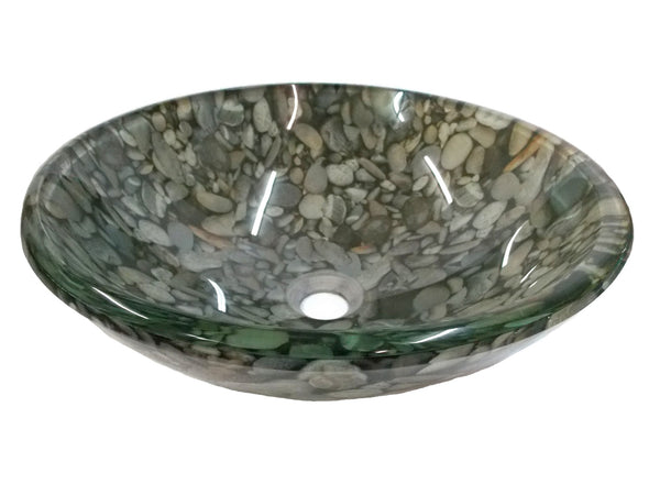 Eden Bath EB_GS24 Natural Pebble Pattern Glass Vessel Sink