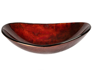 Eden Bath EB_GS40 Canoe Shaped Red Copper Reflections Glass Vessel Sink