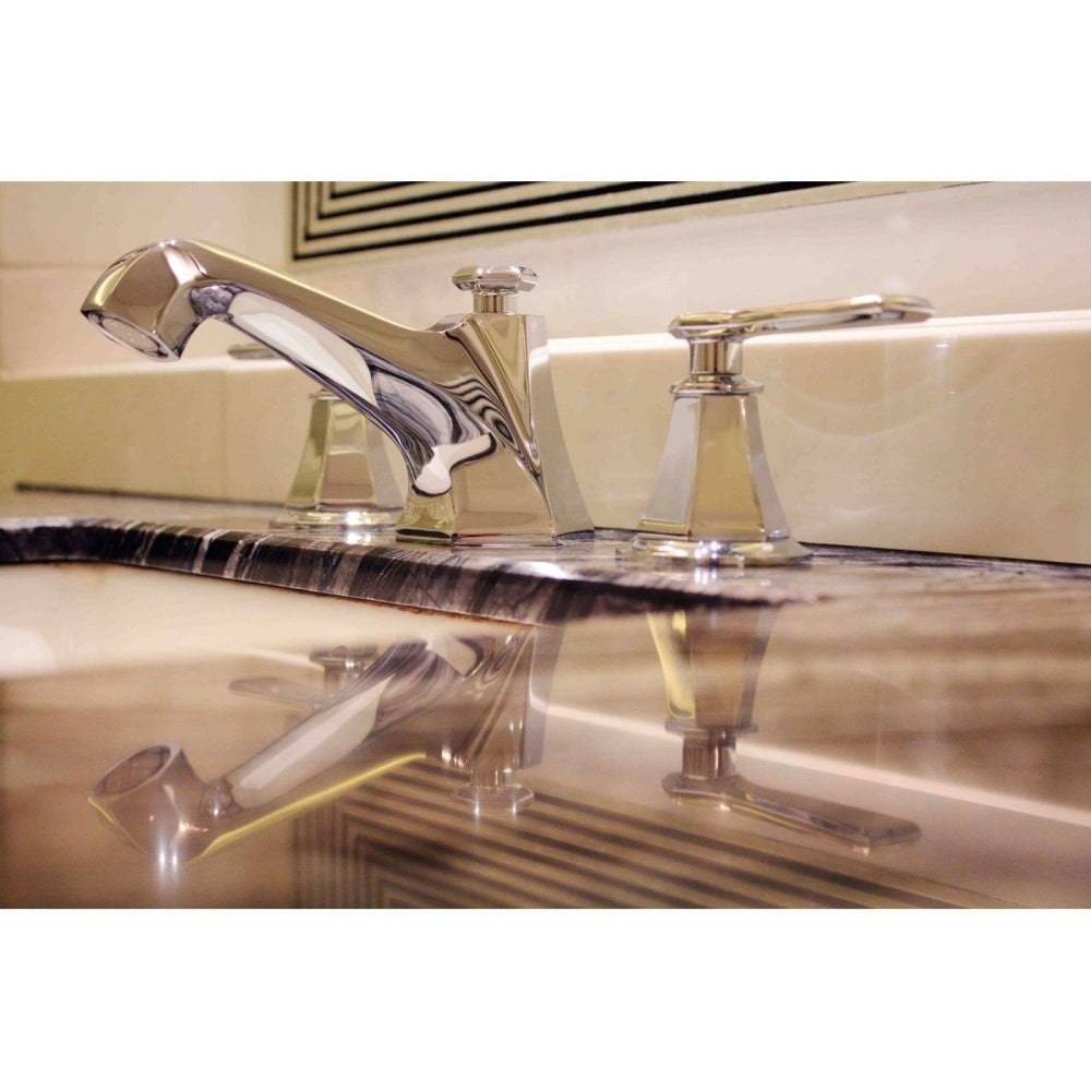 Fluid Symmetry F17006 Three Hole Dual Handle Lavatory Faucet with Lever Handle Polished Chrome