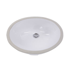 "Nantucket Sinks GB-17x17-W 17"" x 14"" Glazed Bottom Undermount Oval Ceramic Sink In White"