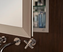 Load image into Gallery viewer, GlassCrafters 24W x 30H x 6D Soho Framed Mirrored Medicine Cabinet, Beveled, Left Electric, Brushed Nickel