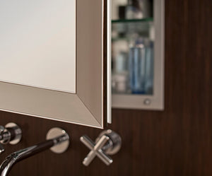 GlassCrafters 20W x 36H x 6D Soho Framed Mirrored Medicine Cabinet, Beveled, Left Electric, Brushed Bronze