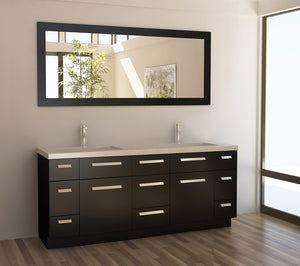 "Design Element J72-DS Moscony 72"" Double Sink Vanity Set in Espresso and Matching Mirror in Espresso"