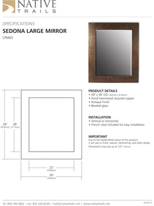 Native Trails CPM65 Large Sedona Rectangle Mirror Antique