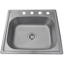 "Load image into Gallery viewer, Nantucket Sinks NS2522-8 25"" Small Rectangle Single Bowl Self Rimming Stainless Steel Drop In Kitchen Sink, 18 Gauge"