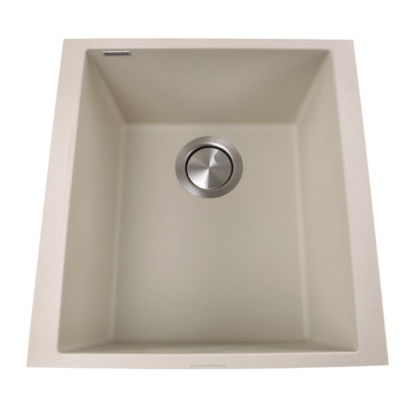 "Nantucket Sinks 17"" Single Bowl Undermount Granite Composite Bar-Prep Sink"