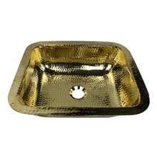 "Load image into Gallery viewer, Nantucket Sinks 17.5"" X 14.5"" Hammered Brass Rectangle Undermount Bar Sink"