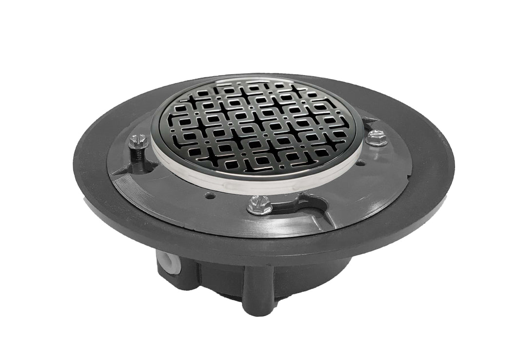 "Infinity Drain RKD 5-3A 5"" x 5"" RKD 5 - Strainer - Link Pattern & 4"