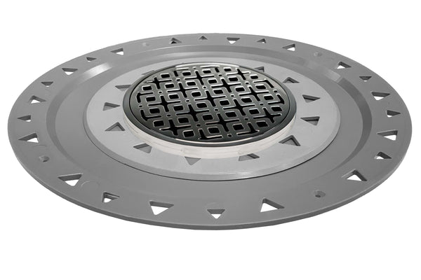 "Infinity Drain RKDB 5-A 5"" x 5"" RKD 5 - Strainer - Link Pattern & 2"" Throat w/ABS Bonded Flange 2"", 3"", & 4"" Outlet"