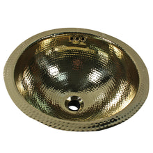 "Load image into Gallery viewer, Nantucket Sinks 13"" Hand Hammered Brass Round Undermount Bathroom Sink w/Overflow"