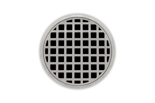 "Infinity Drain RQDB 5-P 5"" x 5"" RQD 5 - Strainer - Squares Pattern & 2"" Throat w/PVC Bonded Flange 2"", 3"", & 4"" Outlet"