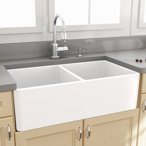 "Nantucket Sinks 33"" Double Bowl Fireclay Farmhouse Kitchen Sink"