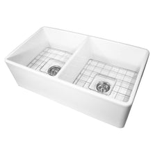 "Load image into Gallery viewer, Nantucket Sinks 33"" Double Bowl Fireclay Farmhouse Kitchen Sink"
