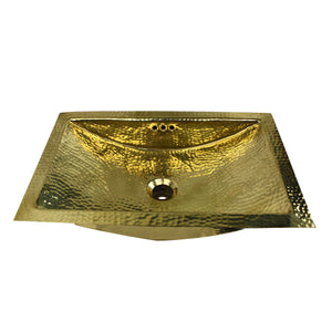 "Nantucket Sinks TRB2416-OF 23.5"" X 15.5"" Hand Hammered Brass Rectangle Undermount Bathroom Sink w/Overflow"