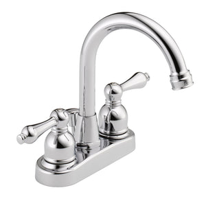 Westbrass WAS00X 4 in. Centerset 2-Handle High-Arc Bathroom Faucet with Drain