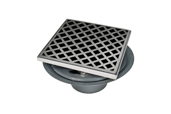 "Infinity Drain XD 5-2P 5"" x 5"" XD 5 - Strainer - Criss-Cross Pattern & 2"" Throat w/PVC Drain Body 2"" Outlet"