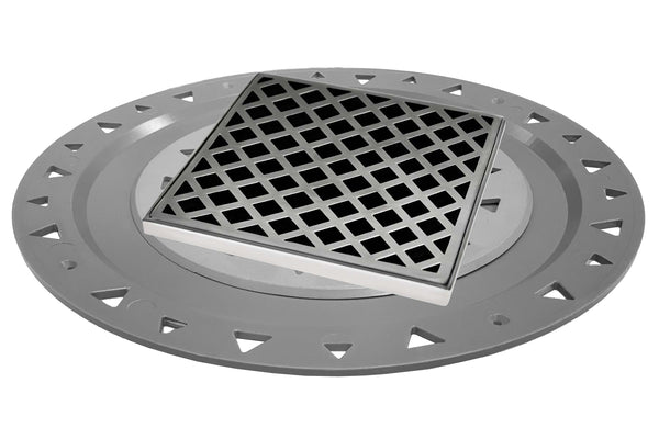 "Infinity Drain XDB 5-P 5"" x 5"" XD 5 - Strainer - Lines Pattern & 2"" Throat w/PVC Bonded Flange 2"", 3"", & 4"" Outlet"
