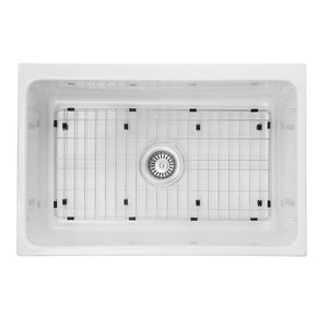 Nantucket Sinks Decorative Apron Farmhouse Fireclay Sink w/Grid and Drain