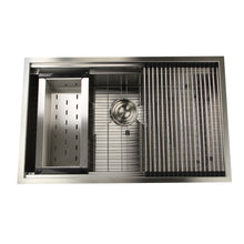 "Load image into Gallery viewer, Nantucket Sinks ZR-PS-3220-16 32"" Pro Series Large Prep Station Single Bowl Undermount Stainless Steel Kitchen Sink Set"