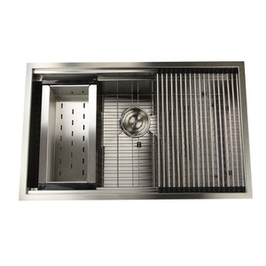 "Nantucket Sinks ZR-PS-3220-16 32"" Pro Series Large Prep Station Single Bowl Undermount Stainless Steel Kitchen Sink Set"
