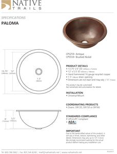 Native Trails CPS Paloma Copper Bath Sink