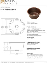 Load image into Gallery viewer, Native Trails CPS251 Redondo Grande Copper Bar Sink Antique