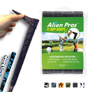 Alien Pros Golf Grip Wrapping Tapes (12-Pack) - Innovative Golf Club Grip Solution - Enjoy a Fresh New Grip Feel in Less Than 1 Minute