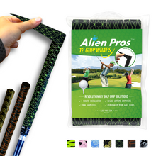 Load image into Gallery viewer, Alien Pros Golf Grip Wrapping Tapes (12-Pack) - Innovative Golf Club Grip Solution - Enjoy a Fresh New Grip Feel in Less Than 1 Minute