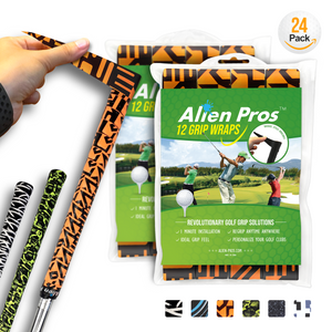 Alien Pros Golf Grip Wrapping Tapes (24-Pack) - Innovative Golf Club Grip Solution - Enjoy a Fresh New Grip Feel in Less Than 1 Minute
