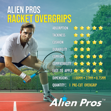 Load image into Gallery viewer, Alien Pros Tennis Racket Grip Tape (6 Grips) – Precut and Dry Feel Tennis Grip – Tennis Overgrip Grip Tape Tennis Racket – Wrap Your Racquet for High Performance (6 Grips)