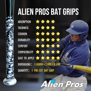 Alien Pros Bat Grip Tape for Baseball (1 Grips) – Precut and Pro Feel Bat Tape – Replacement for Old Baseball Bat Grip – Wrap Your Bat for an Epic Home Run (1 Grips)