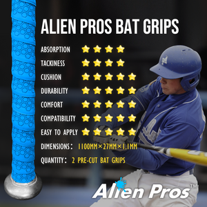 Alien Pros Bat Grip Tape for Baseball (2 Grips) – 1.1 mm Precut and Pro Feel Bat Tape – Replacement for Old Baseball bat Grip – Wrap Your Bat for an Epic Home Run (2 Grips)