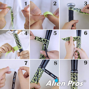 Alien Pros Bat Grip Tape for Baseball (4 Grips) – 1.1 mm Precut and Pro Feel Bat Tape – Replacement for Old Baseball bat Grip – Wrap Your Bat for an Epic Home Run (4 Grips)