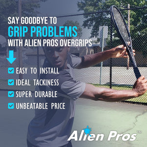 Alien Pros Tennis Racket Grip Tape (60 Grips) – Precut and Dry Feel Tennis Grip – Tennis Overgrip Grip Tape Tennis Racket – Wrap Your Racquet for High Performance (60 Grips)