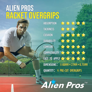 Alien Pros Tennis Racket Grip Tape (6 Grips) – Precut and Light Tac Feel Tennis Grip – Tennis Overgrip Grip Tape Tennis Racket – Wrap Your Racquet for High Performance (6 Grips)