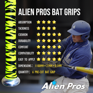 Alien Pros Bat Grip Tape for Baseball (3 Grips) – Precut and Pro Feel Bat Tape – Replacement for Old Baseball Bat Grip – Wrap Your Bat for an Epic Home Run (3 Grips)