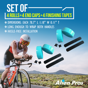 Alien Pros Bike Handlebar Tape EVA (Set of 4) Black Red White Blue Pink Green - Enhance Your Bike Grip with These Bicycle Handle bar Tape - Wrap Your Bike for an Awesome Comfortable Ride